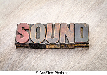 sound word abstract in wood type