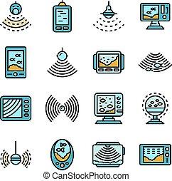 sounder, apartamento, jogo, vetorial, ícones, eco