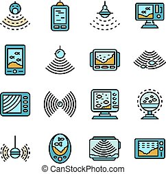 sounder, appartamento, set, vettore, icone, eco
