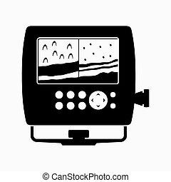 sounder, dispositivo, profundidade, eco, determinando, água