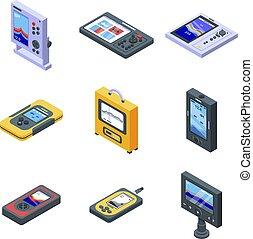 sounder, eco, icone, set, isometrico, stile
