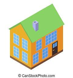 soundproofing, casa, isométrico, icono, estilo