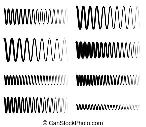 soundwave, イコライザ, 波状, lines., 頻度, ジグザグ, 概念, 広さ, eq