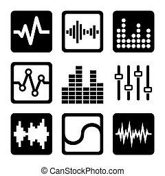 Soundwave Music Icons Set on White Background. Vector