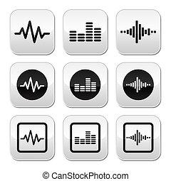 Soundwave music vector buttons set