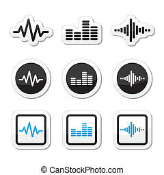 Soundwave music vector icons set - Vector black and blue...