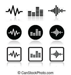 soundwave music vector icons set - Music waveform icons set...