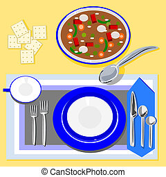 Soup and crackers - Illustration of a table setting that has...