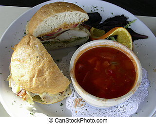 Soup and Sandwich - Gourmet soup and sandwich at an outdoor...
