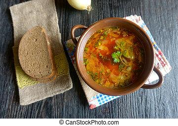 soup borscht, ukrainian traditional food, image gorizontal orientation, no body, top view, flat lay