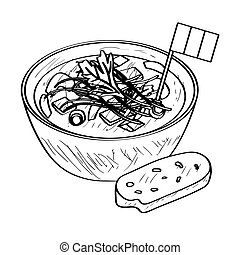 Soup bowl with a flag - Outline