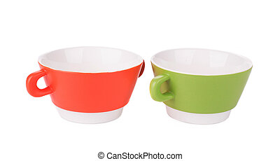 Soup bowls on background.