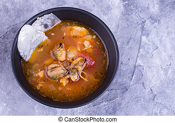 Soup buyabes on gray background