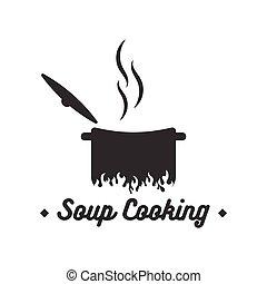 Soup cooking logo design inspiration vector