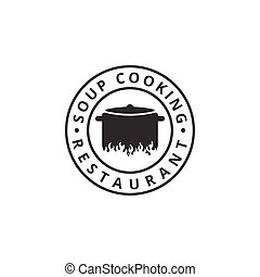 Soup cooking logo design template vector illustration