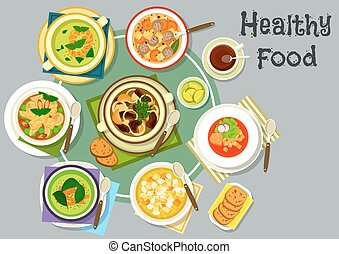 Soup dishes for healthy lunch menu icon