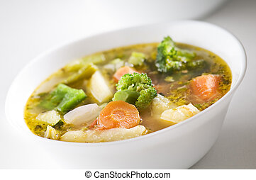 Fresh hot vegetable soup close up shoot