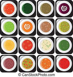 soup icons - icon set - different kind of soup