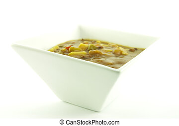 Soup in a White Bowl