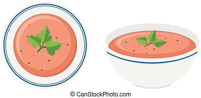 Soup in bowl front and side view