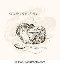 Soup in bread, Hand drawn graphic illustration