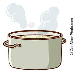 Soup in pot on white background
