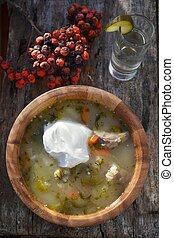soup in the wood dish