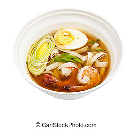 soup noodles with prawns isolated on white background