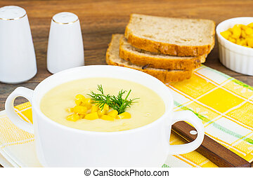 Soup of Mashed Potato with Corn