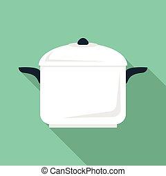 Soup pan icon, flat style