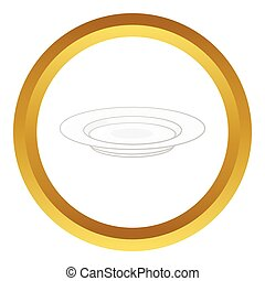 Soup plate vector icon in golden circle, cartoon style...