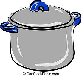 Soup pot, illustration, vector on white background.