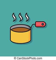 soup pot vector icon