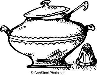 Soup pot with ladle and salt