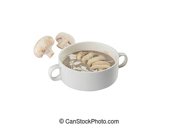 Soup puree with mushrooms in a bowl isolated on white