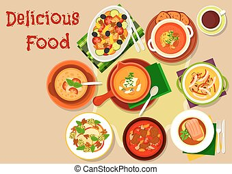 Soup, salad dishes icon for restaurant menu design