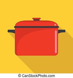 Soup saucepan icon, flat style