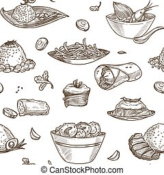 Soup seafood shrimps in bowl monochrome sketch outline vector seamless pattern of meal pasty and baked products cakes and mint leaves species wrapped pancakes and desserts with toppings.