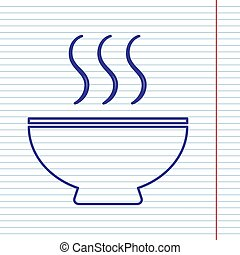 Soup sign. Vector. Navy line icon on notebook paper as background with red line for field.