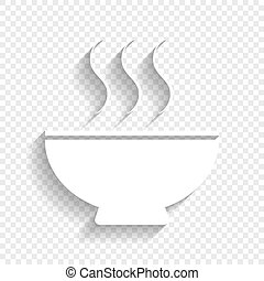 Soup sign. Vector. White icon with soft shadow on transparent background.