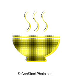 Soup sign. Vector. Yellow icon with square pattern duplicate at