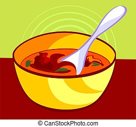 Soup - Illustration of soup in a bowl and spoon