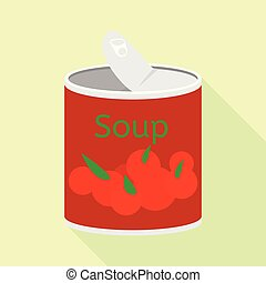Soup tin can icon, flat style