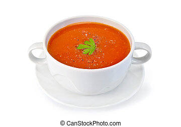 Soup tomato with parsley in white bowl on saucer