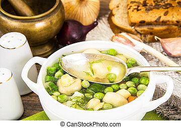 Soup with Cauliflower, Brussels Sprouts, Green Beans, Peas, ...