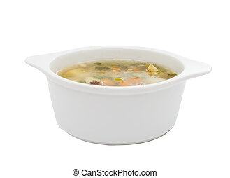 soup with fresh vegetables isolated