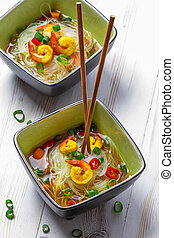 Soup with noodles and spicy shrimp