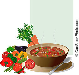 Vegetable soup, with fresh colorful vegetables around and a note for ingredients. Isolated on white