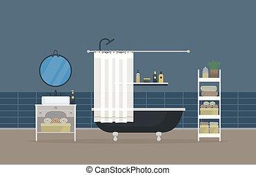 soupape, corps, tête, serviette, salle, lavabo, désodorisant, shampoing, salle bains, main, douche, miroir, robinet, intérieur, hygiene., savon, maison, lotion, gel, sombrer