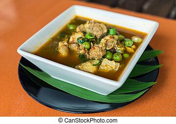 soupe, épicé, aigre, poulet